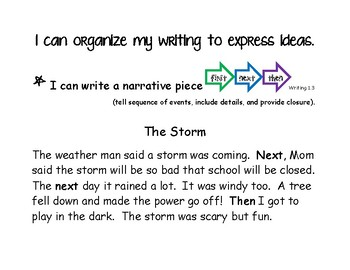 First Grade Writing Standards 1,2,3