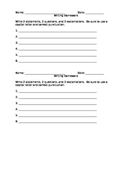 First Grade Writing Statements, Questions, and Exclamations Worksheet