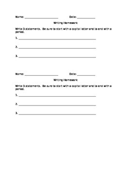 First Grade Writing Statements Worksheet