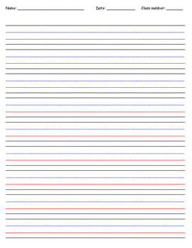 First Grade Writing paper template