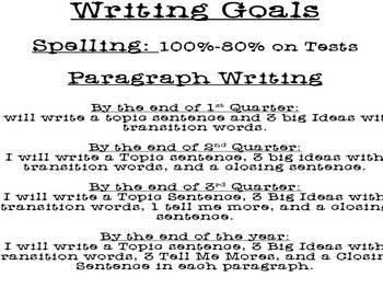 First Grade Writng Goals By Quarter