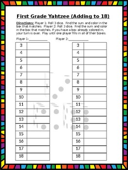 First Grade Yahtzee Boards