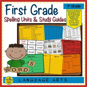 First Grade Year Long Spelling Units, Study Guides & Activities