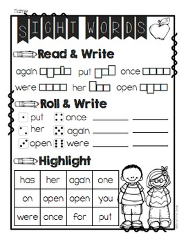 First Grade and Second Grade Sight Word Printables