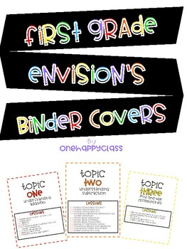 First Grade enVision's Topic Binder Covers