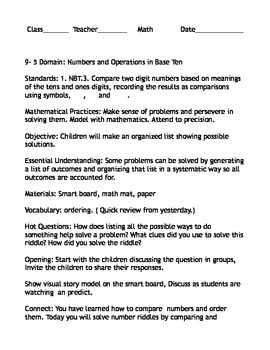 First Grade envision Math lesson Plan 9-5
