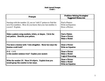 First Grade math Prompts