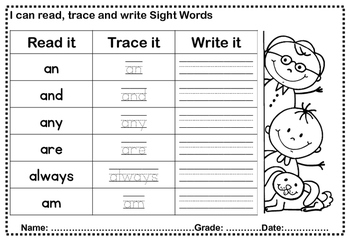 First Grade Sight Words Trace and Write