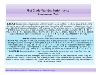 First Grade Year End Performance task 2015 version