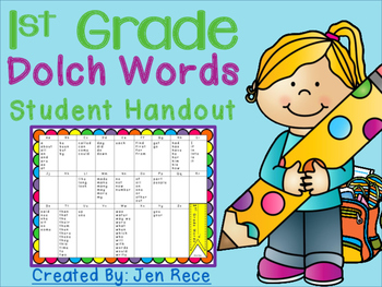 First Grade/Grade One Dolch Words Handout {100 Dolch Sight Words}