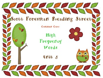 First GradeOwl Themed Scott Foresman Reading Street High Frequency Words Unit 5