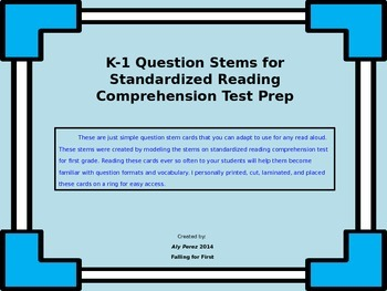 First Grade Question Stems for Reading Comprehension Tests