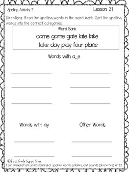 First Gradre StoryTown Lesson 21 Spelling Activity Packet