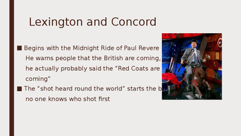 First Half of American Revolution Battles and Key Events Engaging PowerPoint