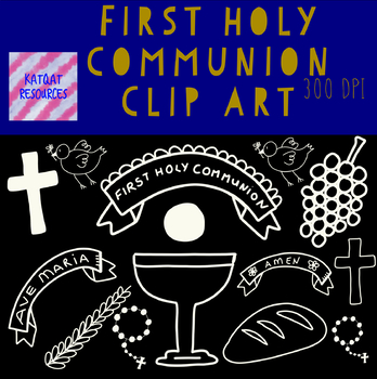 First Holy Communion Clip Art White Line