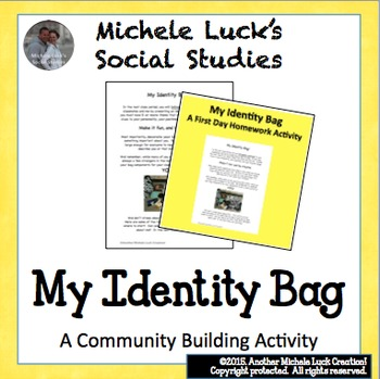 First Homework Assignment Identity Bag for Back to School Community Building
