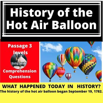 First Hot Air Balloon Differentiated Reading Passage, September 19