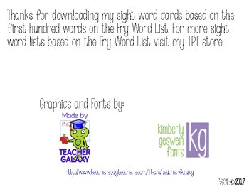 First Hundred Fry Word Cards