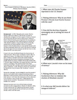 First Inaugural Address of Abraham Lincoln (1861) Primary Source Analysis