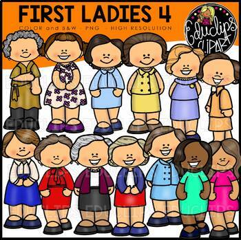 First Ladies of America 4 Clip Art Bundle {Educlips Clipart}
