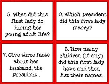 First Lady Task Cards: Companion Activity for Who Was (Is) Series Books