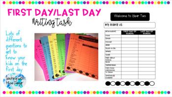 [FREEBIE] First/Last Day Writing Task