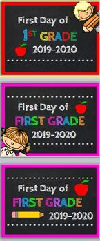First Day of First Grade Photo Prop Sign 2019-20 w/ Bonus Last Day Signs
