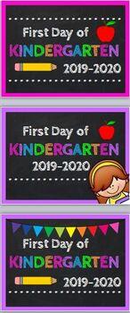 First Day of Kindergarten Photo Prop Sign 2019-20 w/bonus Last Day Signs