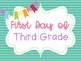 First & Last Day of School Photos Teal Tonal Horizontal Stripe Poster Printables