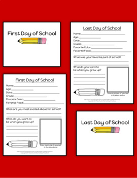 First & Last Day of School Questionnaire & Signs