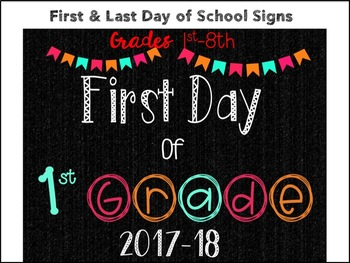 First/Last Day of School Sign! {Grades 1st - 8th}