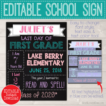 First & Last Day of School Sign Printable, Editable Chalkboard Photo Prop Poster