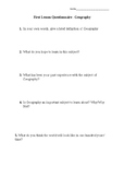 First Lesson Questionnaire Geography