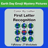 First Letter Recognition - Color by Letter - Earth Day Emoji Mystery Pictures