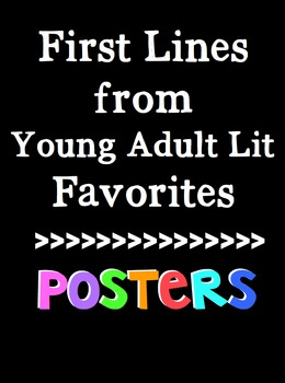 First Lines from Young Adult Lit for the Middle School Classroom! Block Font!