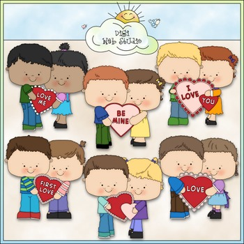 First Love Kids Clip Art 2 - Valentine's Day Clip Art - CU