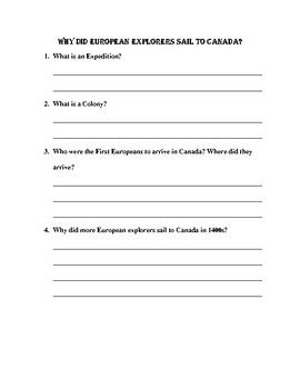 First NAtions and European explorers Chapet 2 Worksheets and test