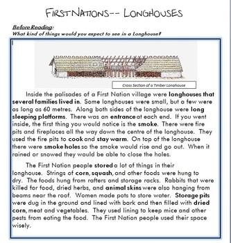 First Nation Longhouses Worksheet