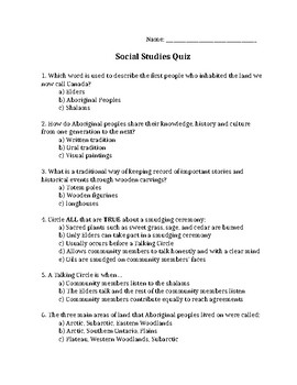 First Nations Definitions Quiz