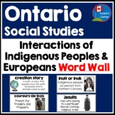 Interactions of Indigenous Peoples and Europeans Word Wall