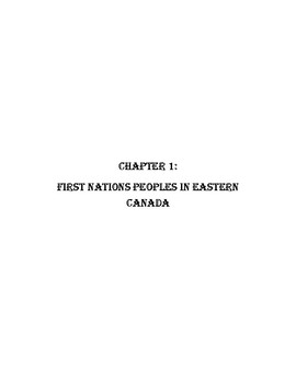 First Nations and European explorers Chapter 1 Worksheets