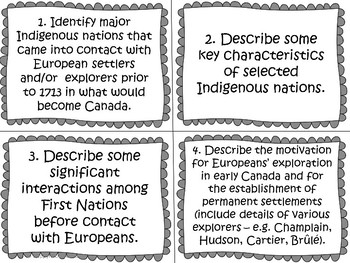 First Nations and Europeans in New France and Early Canada Task Cards