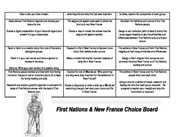 First Nations and New France Choice Board