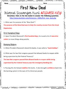 First New Deal Internet Scavenger Hunt WebQuest Activity