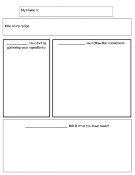 First, Next, Last graphic organizer for recipe by MrsKReames