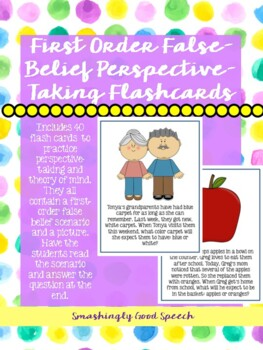First Order False Belief Perspective - Taking & Theory of Mind Flash Cards!