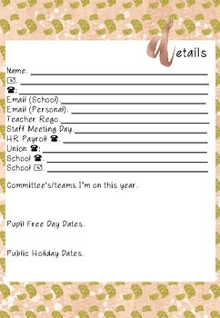 First Page Teacher Planner Insert Page Options