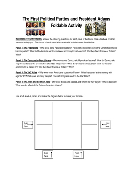 First Political Parties and John Adams Presidency Foldable or Web Quest
