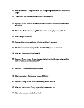 First Presidential Debate of 2016 Worksheet