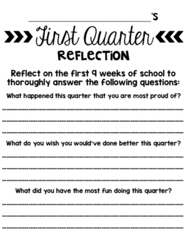 First Quarter Reflection